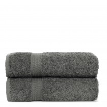 Luxury Hotel Collection 100% Cotton-Eco Gray Bath Towels - Dobby Border - Set of 4