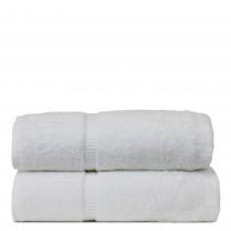 Luxury Hotel & Spa Towel Turkish Cotton Bath Towels - White - Dobby Border - Set of 2