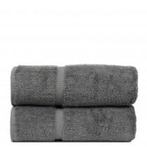 Luxury Hotel & Spa Towel Turkish Cotton Bath Towels - Gray - Dobby Border - Set of 2
