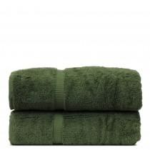 Luxury Hotel & Spa Towel Turkish Cotton Bath Towels - Moss - Dobby Border - Set of 2