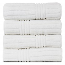 Bare Cotton Luxury Hotel & Spa 100% Natural Turkish Cotton Ribbed Channel Pattern Bath Towel (Set of 4), White