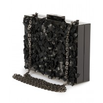 Valentino Applique Flowers Minaudiere in Black Metal