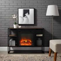 "40"" Metal & Wood Open-Shelf Fireplace Console"