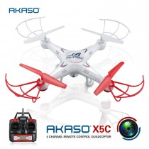 AKASO X5C 4CH 2.4GHz 6Axis RC Quadcopter with HD Camera, Gyro Headless, 360degree 3D Rolling Mode 2 RTF RC Drone
