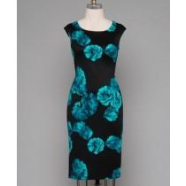 Sleevless Floral Scuba Midi Sheath Dress