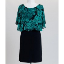 Chiffon Floral Caplet A-Line Dress