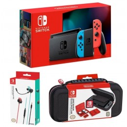 Nintendo Switch with Neon Blue and Red (2019) with Gaming Earbuds Pro & Deluxe Travel Case